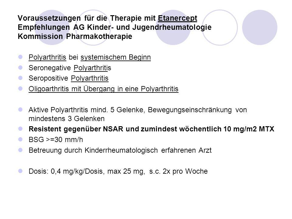 Voraussetzungen für die Therapie mit Etanercept Empfehlungen AG Kinder- und Jugendrheumatologie Kommission Pharmakotherapie