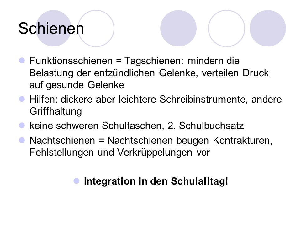 Integration in den Schulalltag!