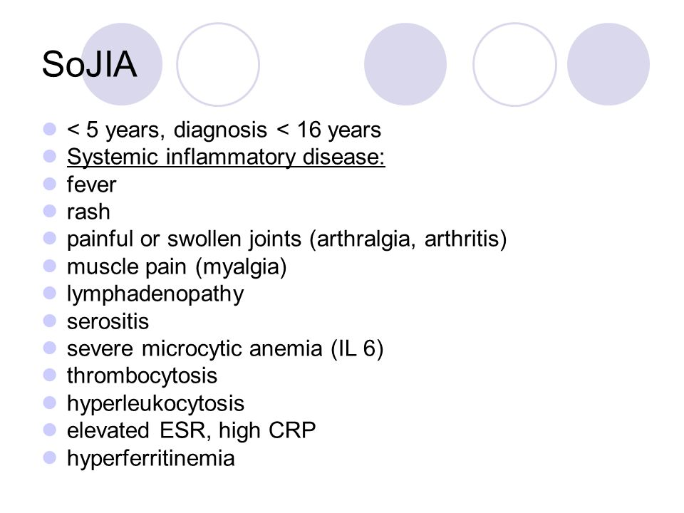 SoJIA < 5 years, diagnosis < 16 years