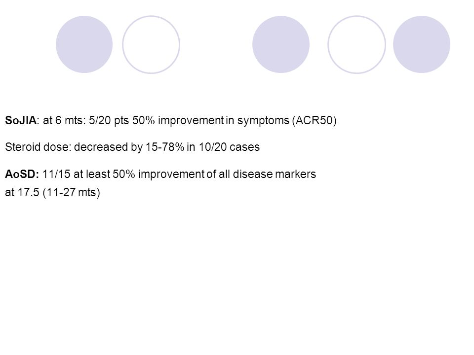 SoJIA: at 6 mts: 5/20 pts 50% improvement in symptoms (ACR50) Steroid dose: decreased by 15-78% in 10/20 cases AoSD: 11/15 at least 50% improvement of all disease markers at 17.5 (11-27 mts)