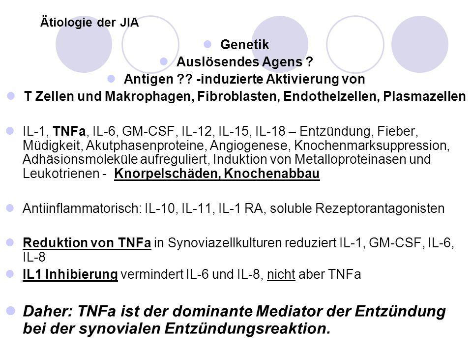 Ätiologie der JIA Genetik. Auslösendes Agens Antigen -induzierte Aktivierung von.