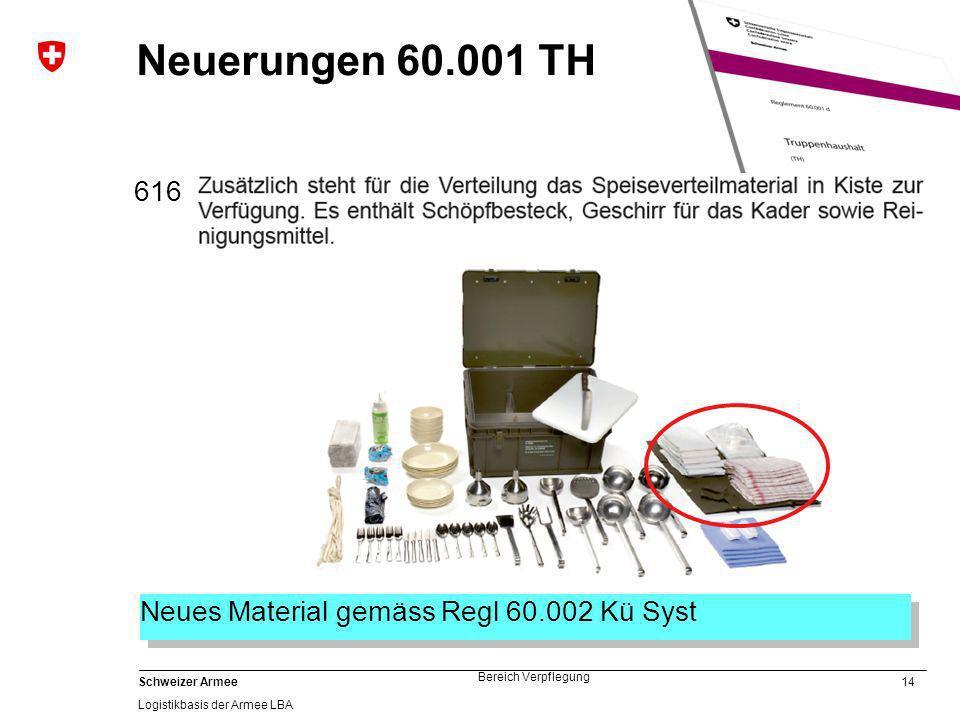 Neuerungen 60.001 TH 616 Neues Material gemäss Regl 60.002 Kü Syst