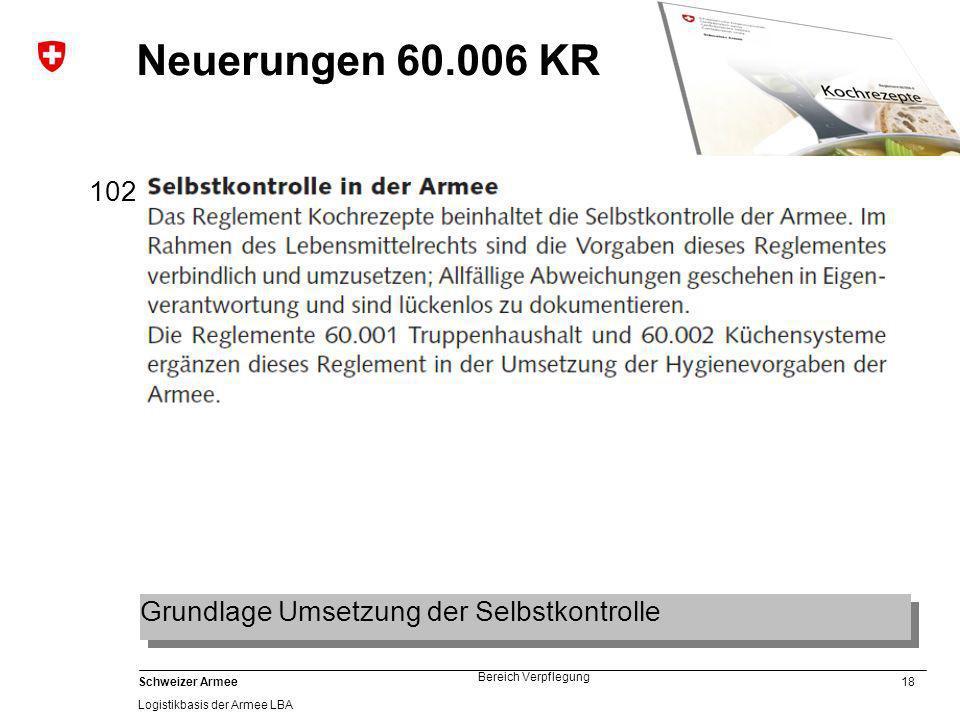 Neuerungen 60.006 KR 102 Grundlage Umsetzung der Selbstkontrolle