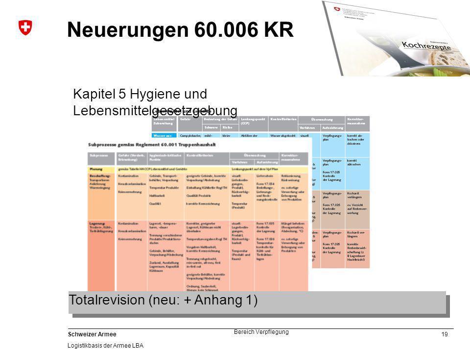 Neuerungen 60.006 KR Kapitel 5 Hygiene und Lebensmittelgesetzgebung