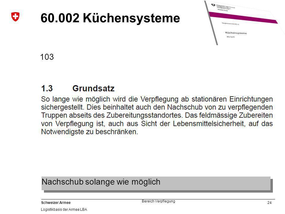60.002 Küchensysteme 103 Nachschub solange wie möglich