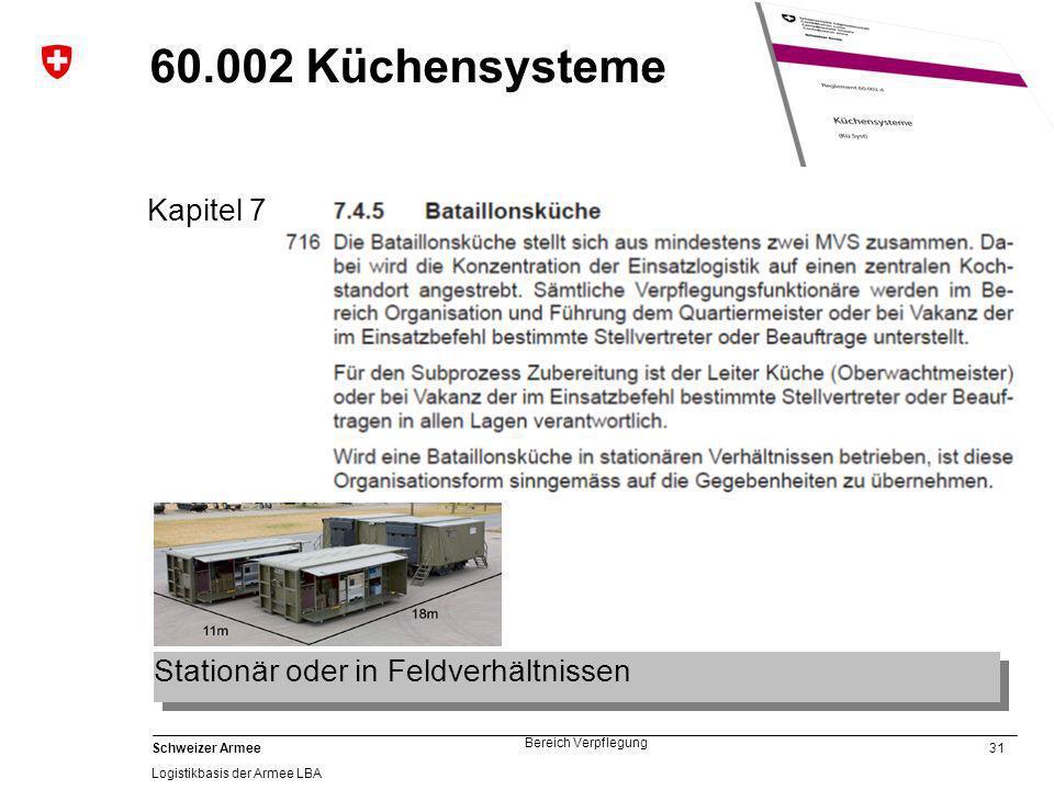 60.002 Küchensysteme Kapitel 7 Stationär oder in Feldverhältnissen