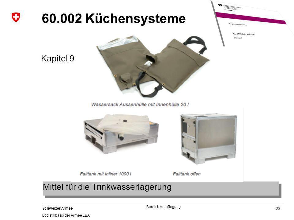 60.002 Küchensysteme Kapitel 9 Mittel für die Trinkwasserlagerung