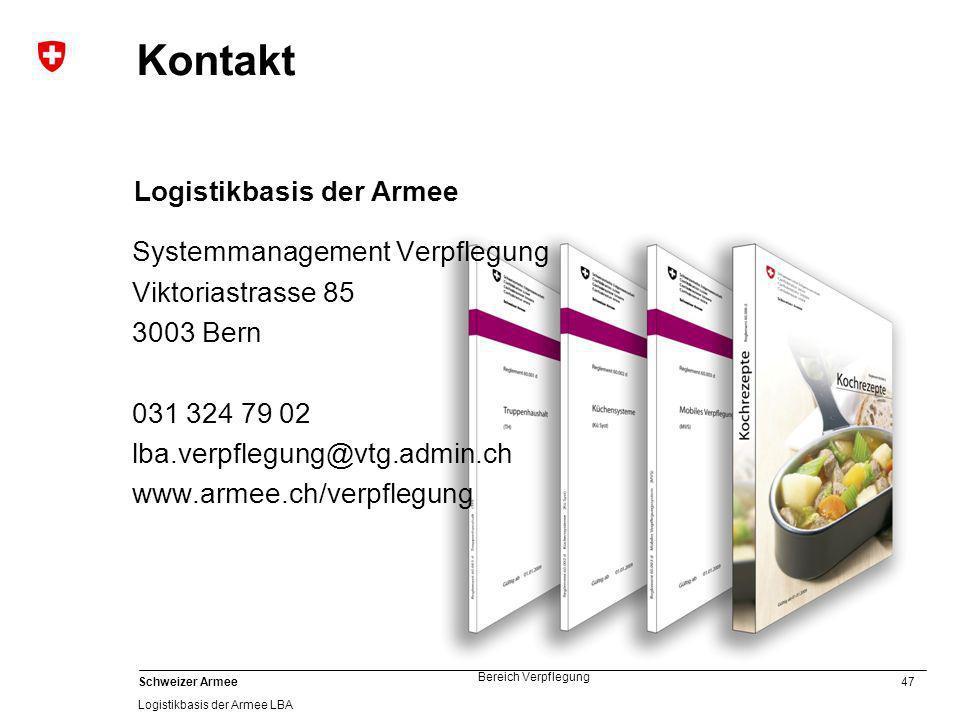 Kontakt Logistikbasis der Armee Systemmanagement Verpflegung