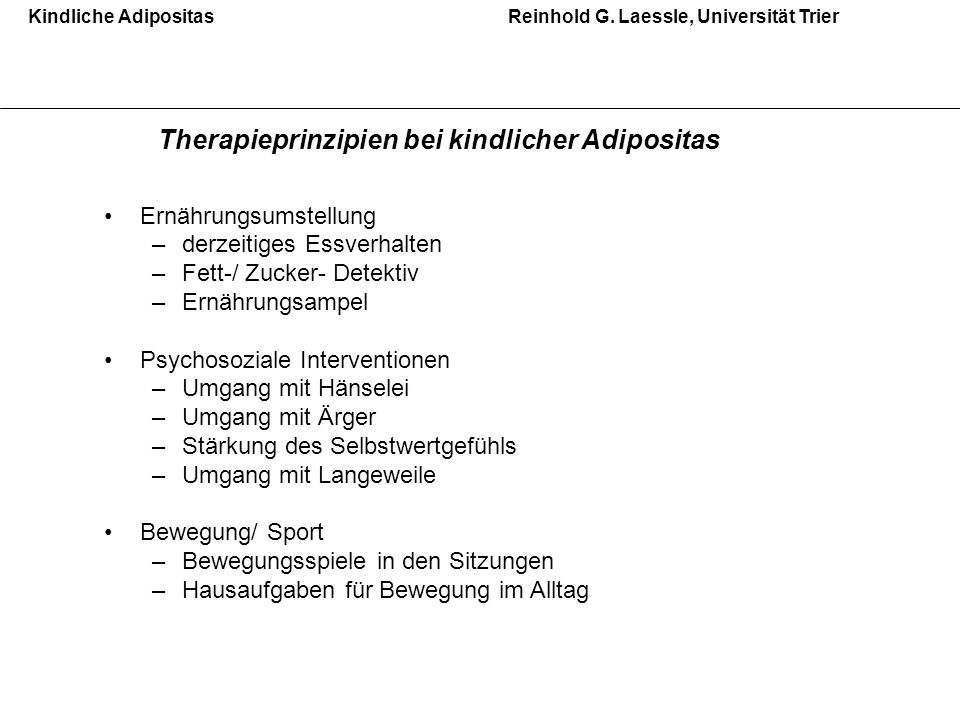 Therapieprinzipien bei kindlicher Adipositas