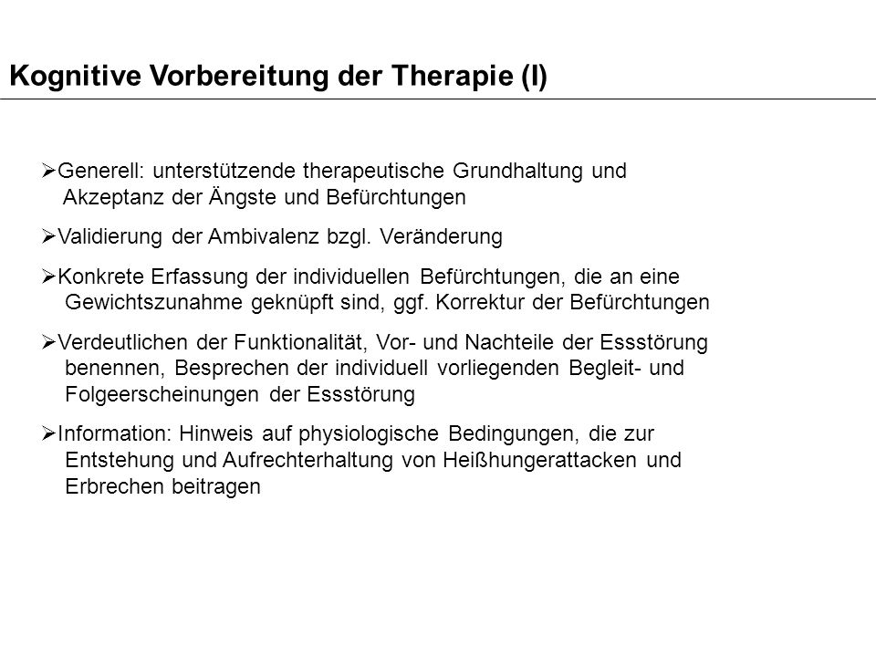 Kognitive Vorbereitung der Therapie (I)