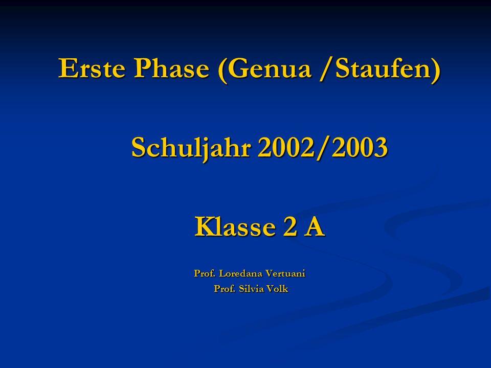 Erste Phase (Genua /Staufen) Prof. Loredana Vertuani