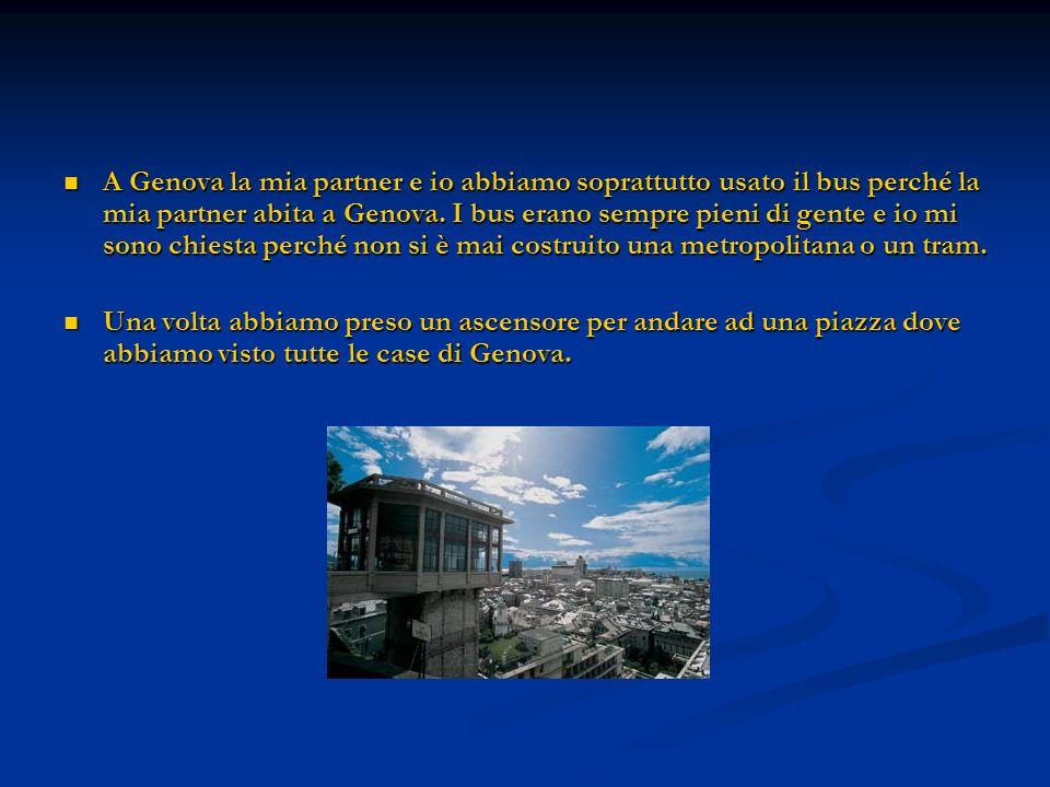 A Genova la mia partner e io abbiamo soprattutto usato il bus perché la mia partner abita a Genova. I bus erano sempre pieni di gente e io mi sono chiesta perché non si è mai costruito una metropolitana o un tram.