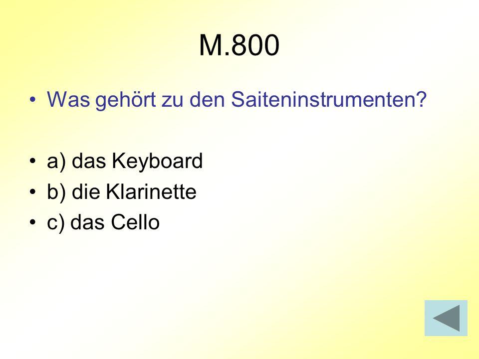 M.800 Was gehört zu den Saiteninstrumenten a) das Keyboard