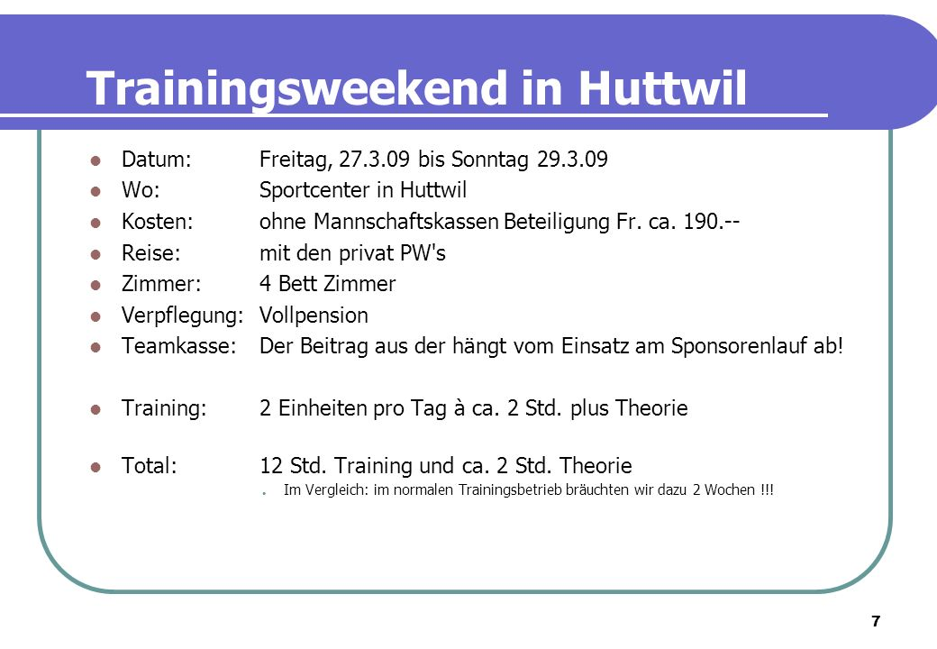 Trainingsweekend in Huttwil
