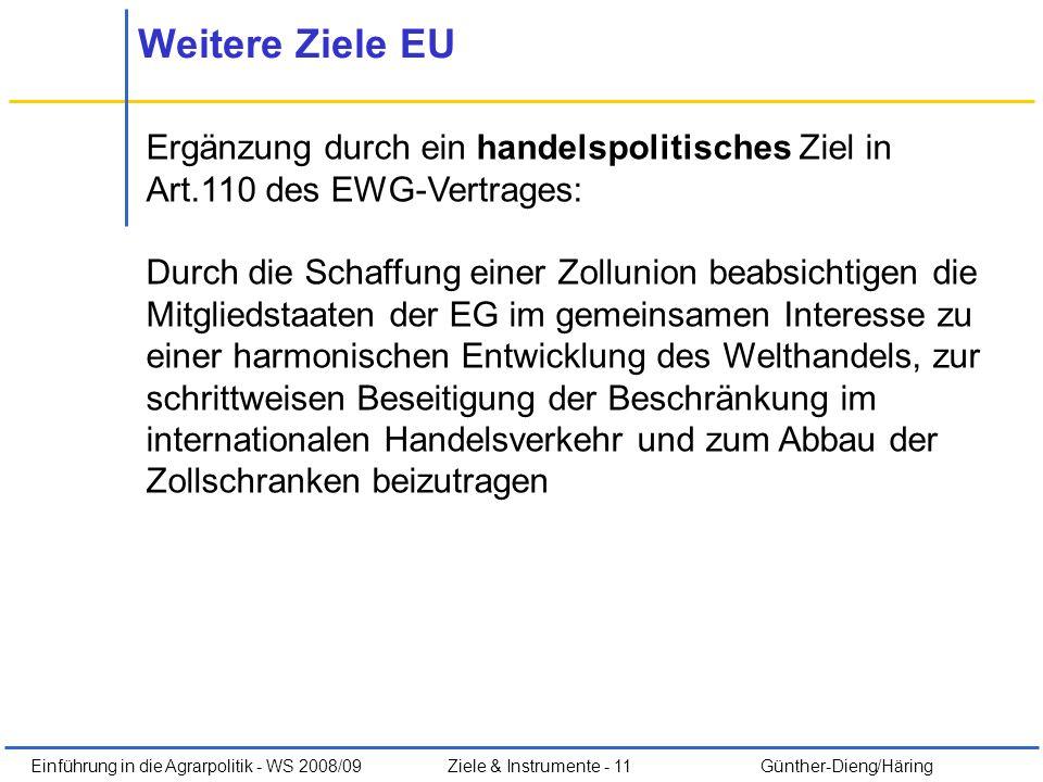 Weitere Ziele EU Ergänzung durch ein handelspolitisches Ziel in