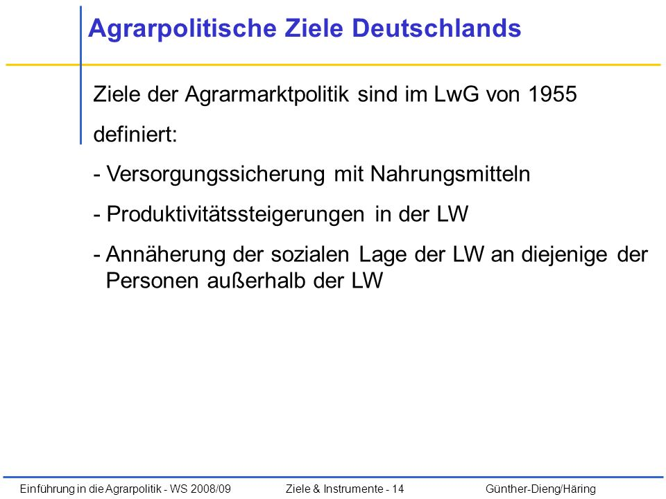 Agrarpolitische Ziele Deutschlands