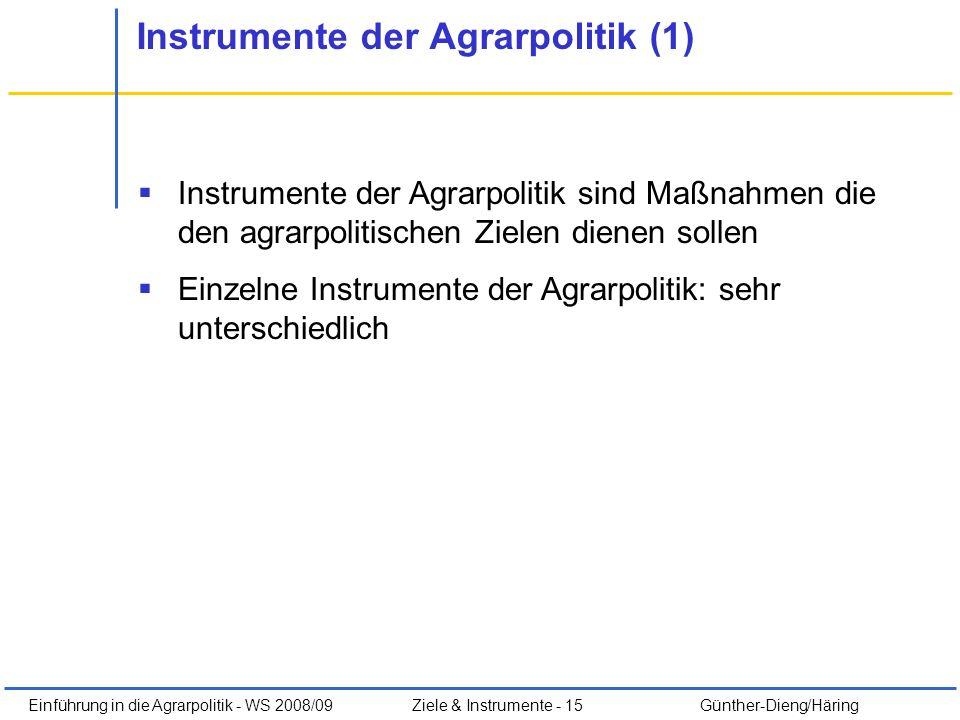 Instrumente der Agrarpolitik (1)