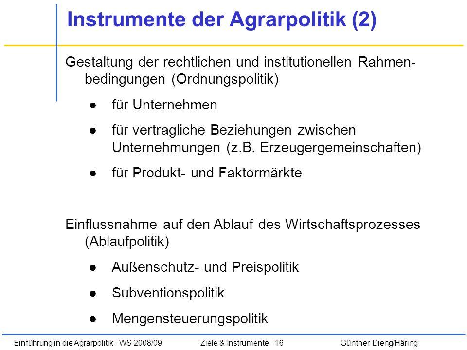 Instrumente der Agrarpolitik (2)