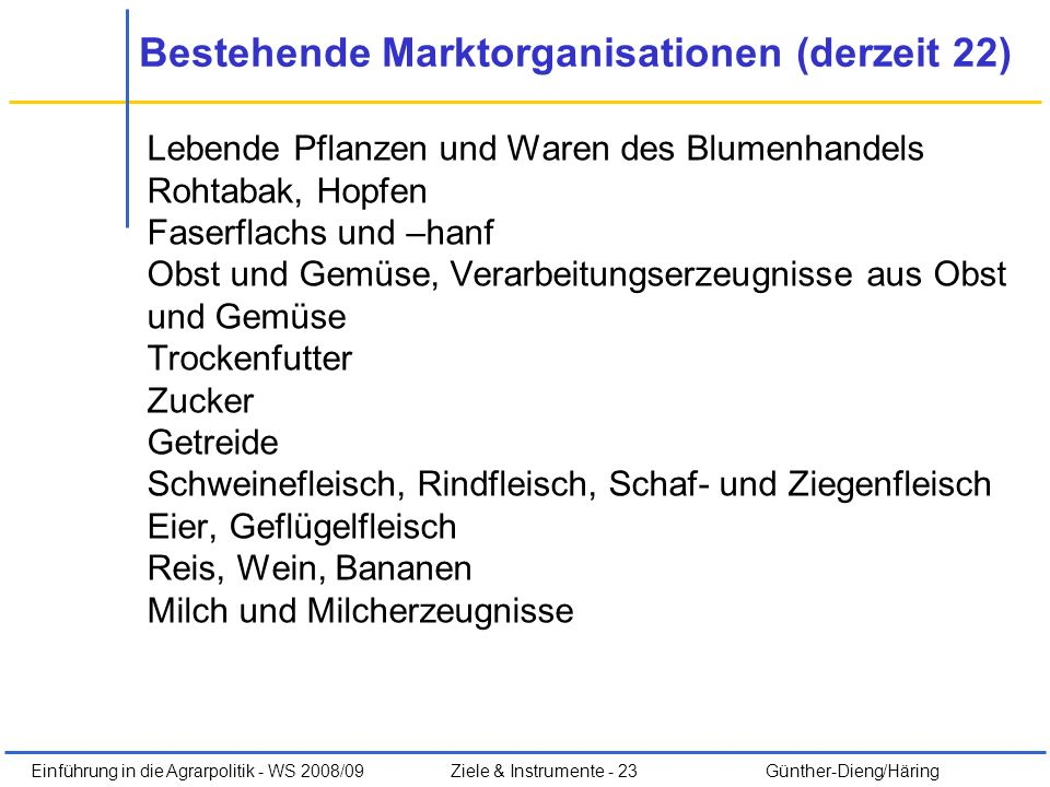 Bestehende Marktorganisationen (derzeit 22)
