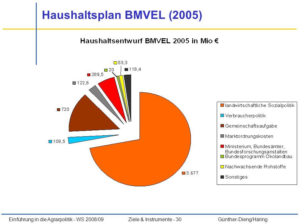 Haushaltsplan BMVEL (2005)