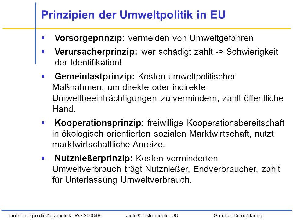 Prinzipien der Umweltpolitik in EU