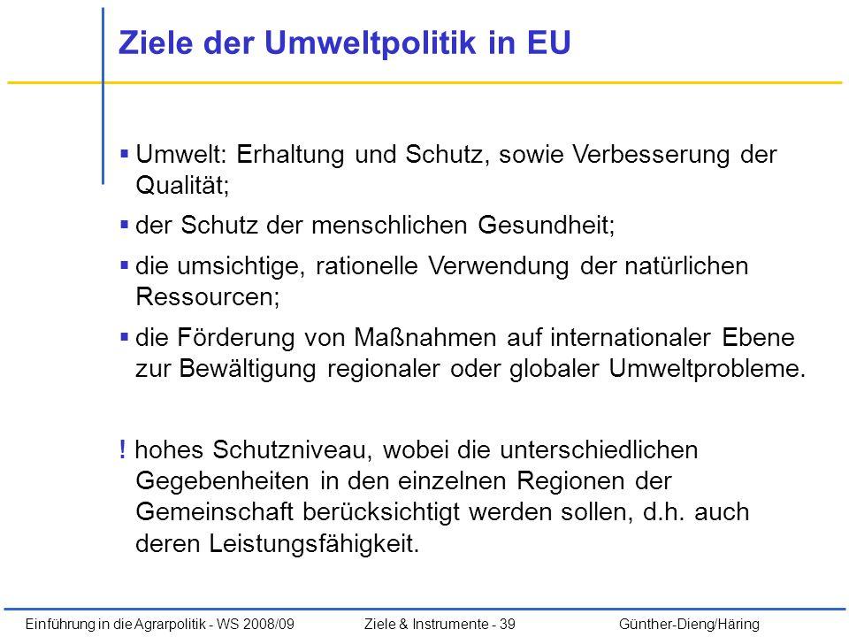 Ziele der Umweltpolitik in EU