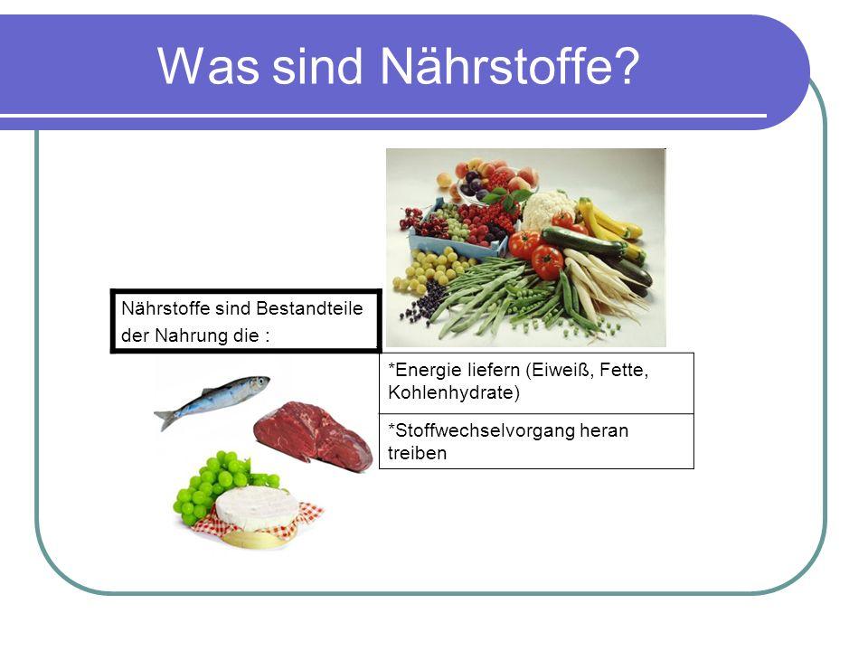 Was sind Nährstoffe Nährstoffe sind Bestandteile der Nahrung die :