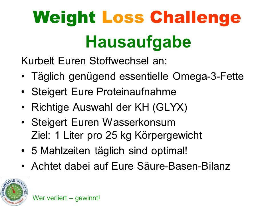 Weight Loss Challenge Hausaufgabe Kurbelt Euren Stoffwechsel an: