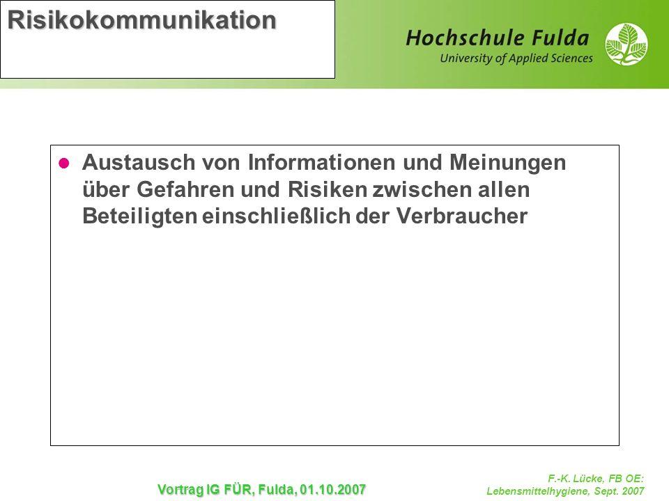 Risikokommunikation Austausch von Informationen und Meinungen über Gefahren und Risiken zwischen allen Beteiligten einschließlich der Verbraucher.