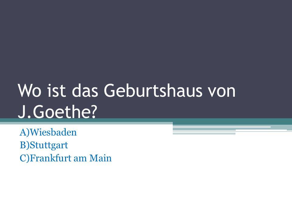 Wo ist das Geburtshaus von J.Goethe