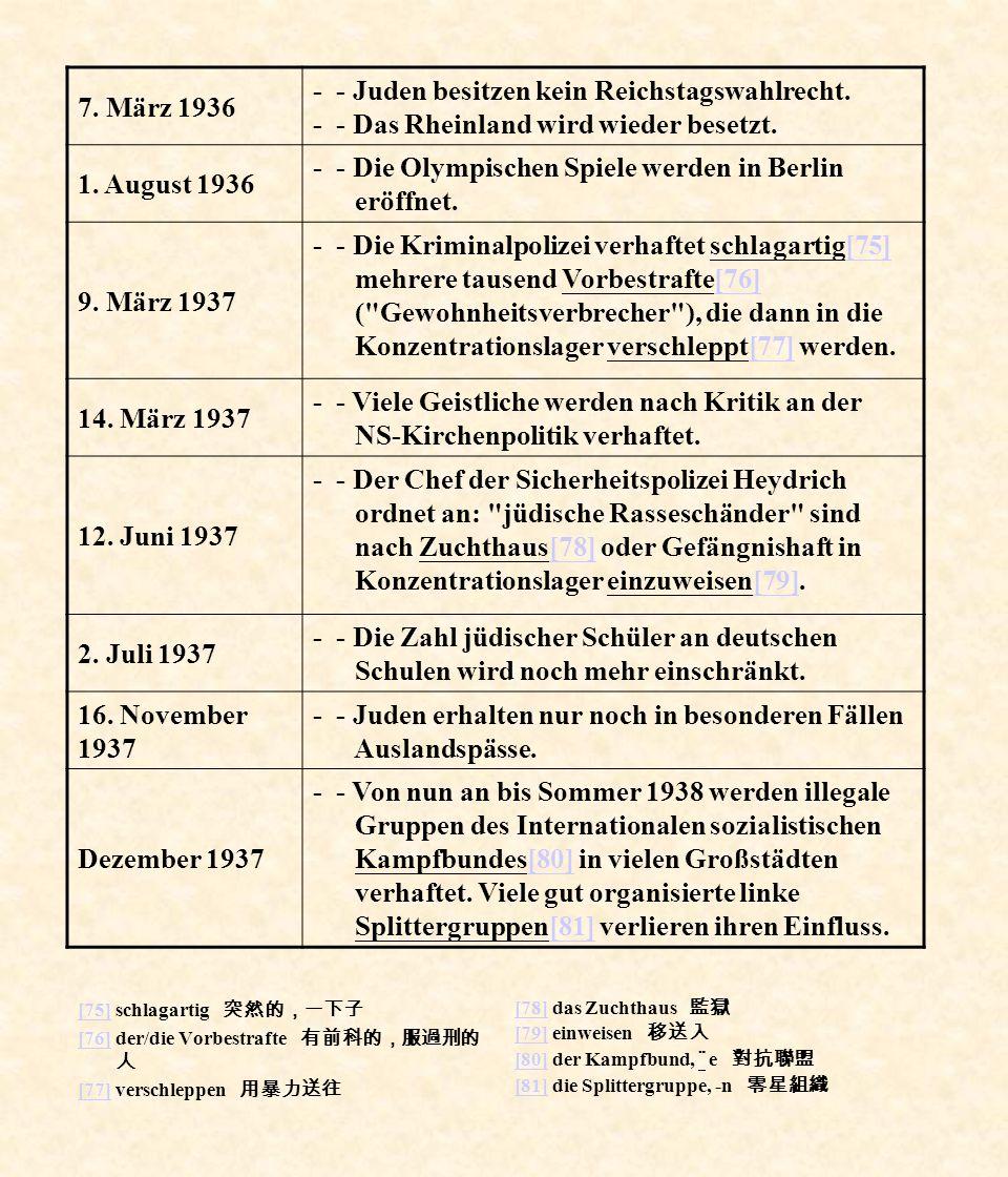 - - Die Olympischen Spiele werden in Berlin eröffnet. 9. März 1937