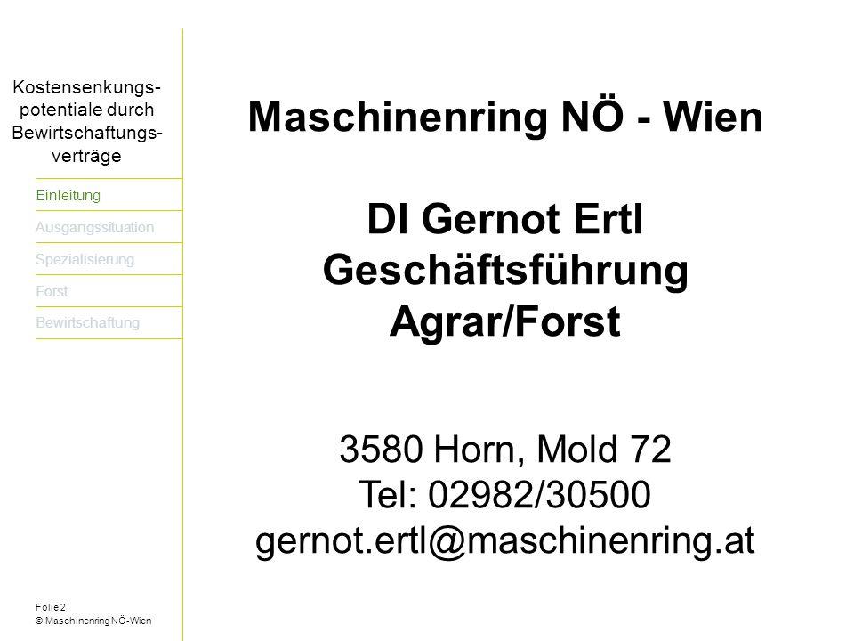 Maschinenring NÖ - Wien Geschäftsführung Agrar/Forst