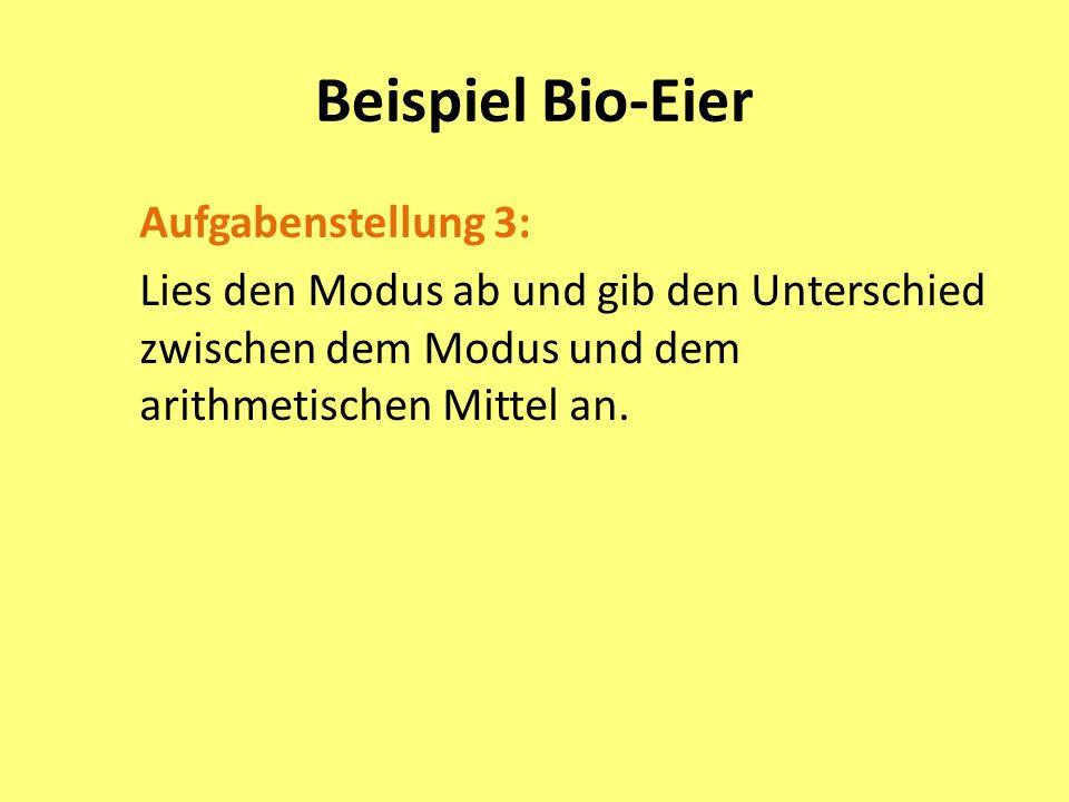 Beispiel Bio-Eier Aufgabenstellung 3: Lies den Modus ab und gib den Unterschied zwischen dem Modus und dem arithmetischen Mittel an.