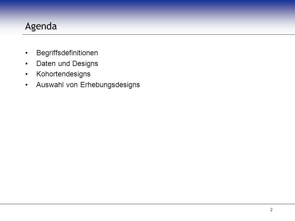 Agenda Begriffsdefinitionen Daten und Designs Kohortendesigns