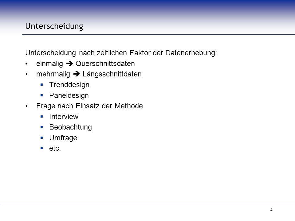 Unterscheidung Unterscheidung nach zeitlichen Faktor der Datenerhebung: einmalig  Querschnittsdaten.