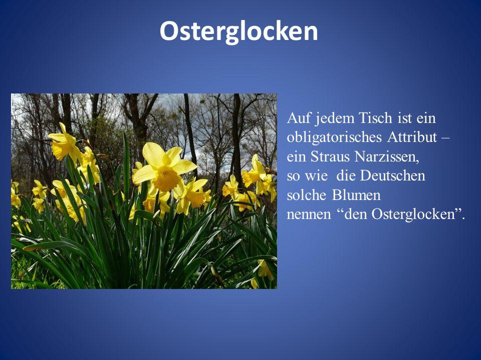 Osterglocken Auf jedem Tisch ist ein obligatorisches Attribut – ein Straus Narzissen, so wie die Deutschen solche Blumen.