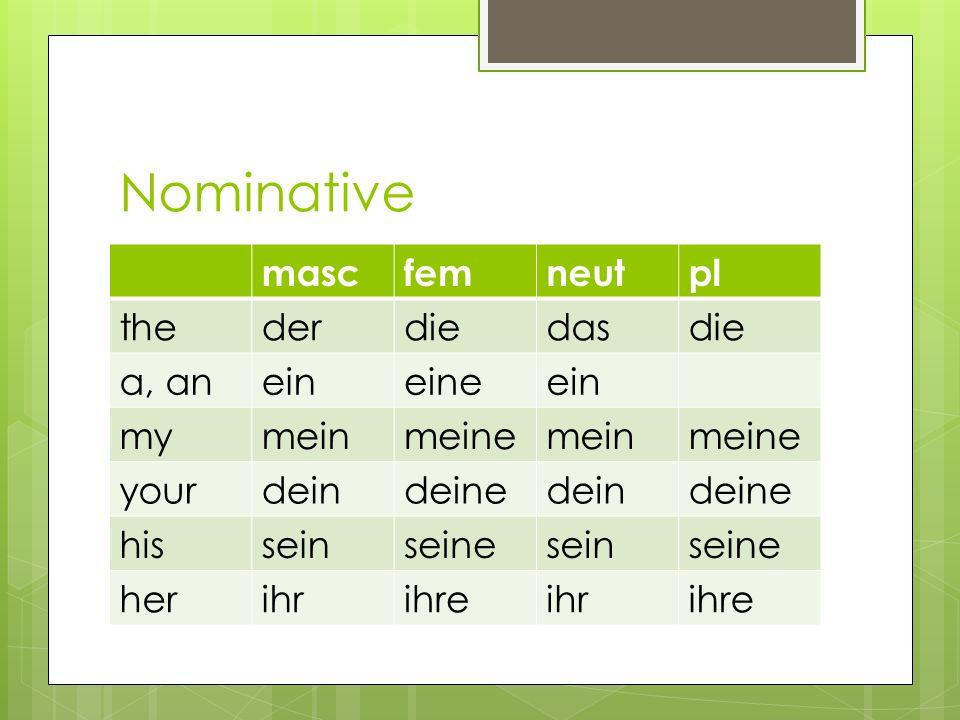Nominative masc fem neut pl the der die das a, an ein eine my mein