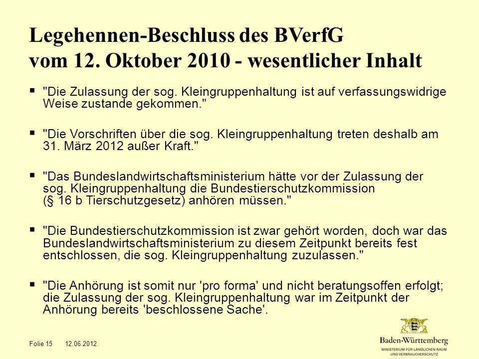 Legehennen-Beschluss des BVerfG vom 12