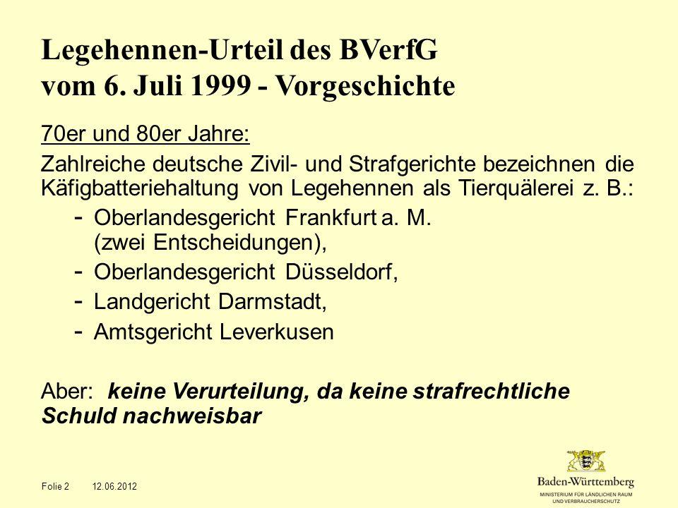 Legehennen-Urteil des BVerfG vom 6. Juli 1999 - Vorgeschichte