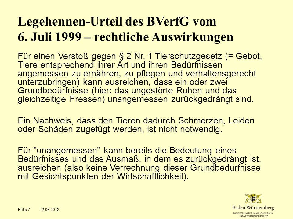 Legehennen-Urteil des BVerfG vom 6. Juli 1999 – rechtliche Auswirkungen