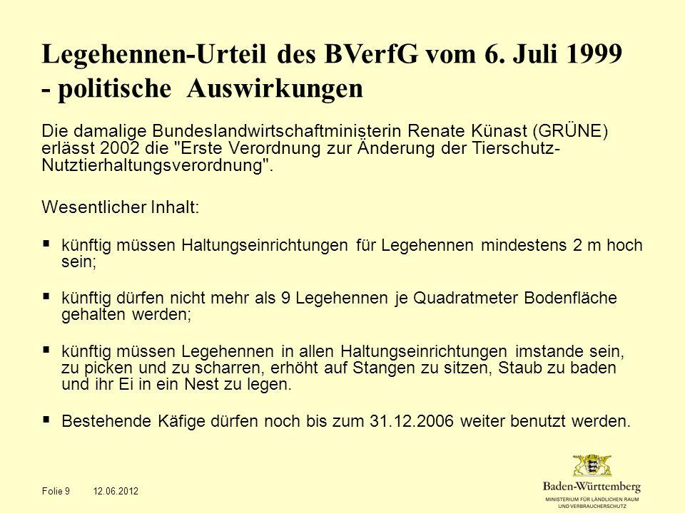 Legehennen-Urteil des BVerfG vom 6. Juli 1999 - politische Auswirkungen