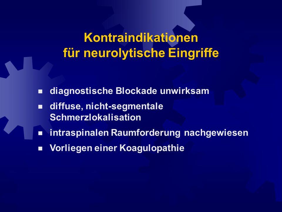 Kontraindikationen für neurolytische Eingriffe