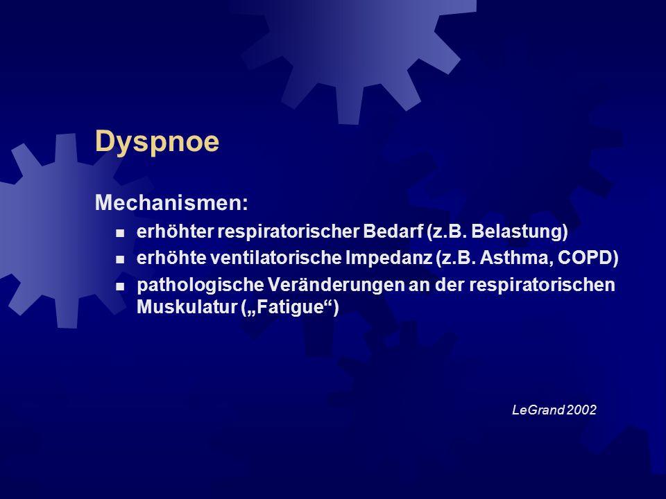 Dyspnoe Mechanismen: erhöhter respiratorischer Bedarf (z.B. Belastung)