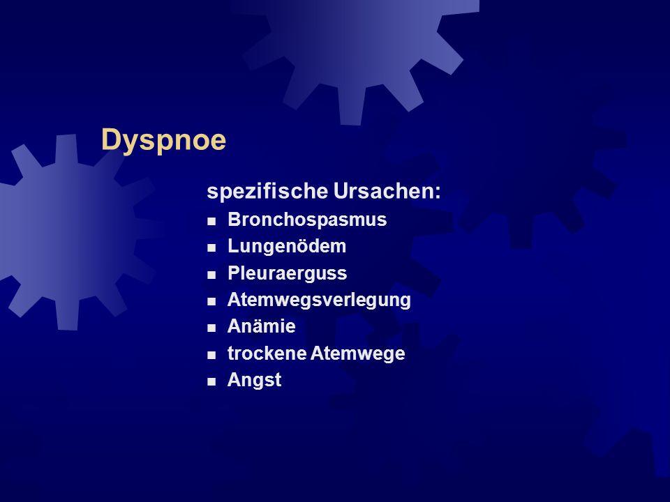 Dyspnoe spezifische Ursachen: Bronchospasmus Lungenödem Pleuraerguss