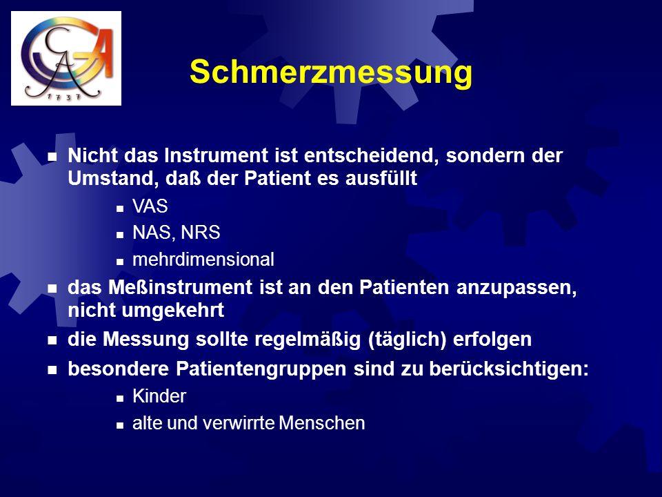 Schmerzmessung Nicht das Instrument ist entscheidend, sondern der Umstand, daß der Patient es ausfüllt.