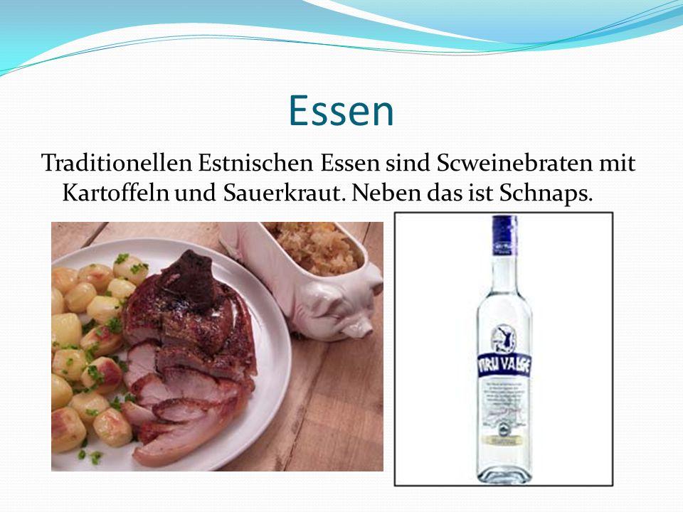 Essen Traditionellen Estnischen Essen sind Scweinebraten mit Kartoffeln und Sauerkraut.