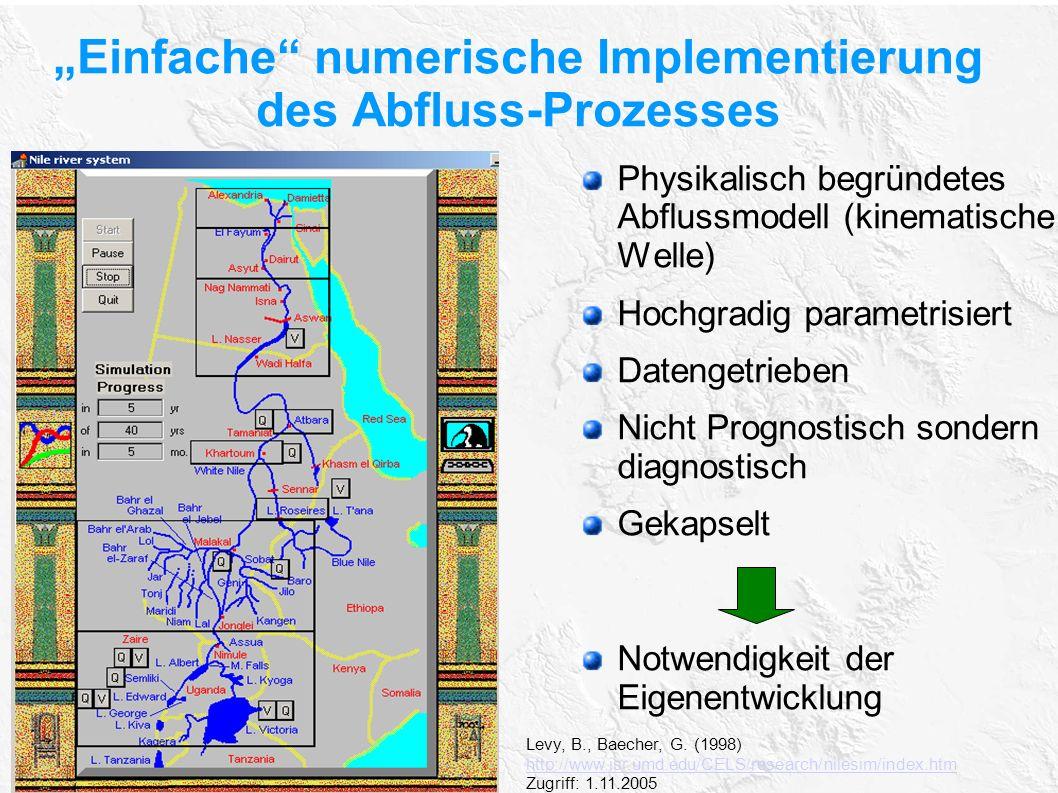 """""""Einfache numerische Implementierung des Abfluss-Prozesses"""