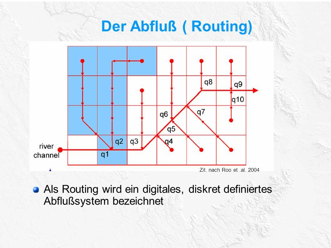 Der Abfluß ( Routing) Zit. nach Roo et .al. 2004.