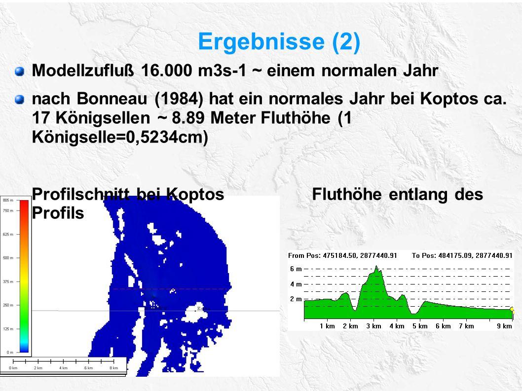 Ergebnisse (2) Modellzufluß 16.000 m3s-1 ~ einem normalen Jahr