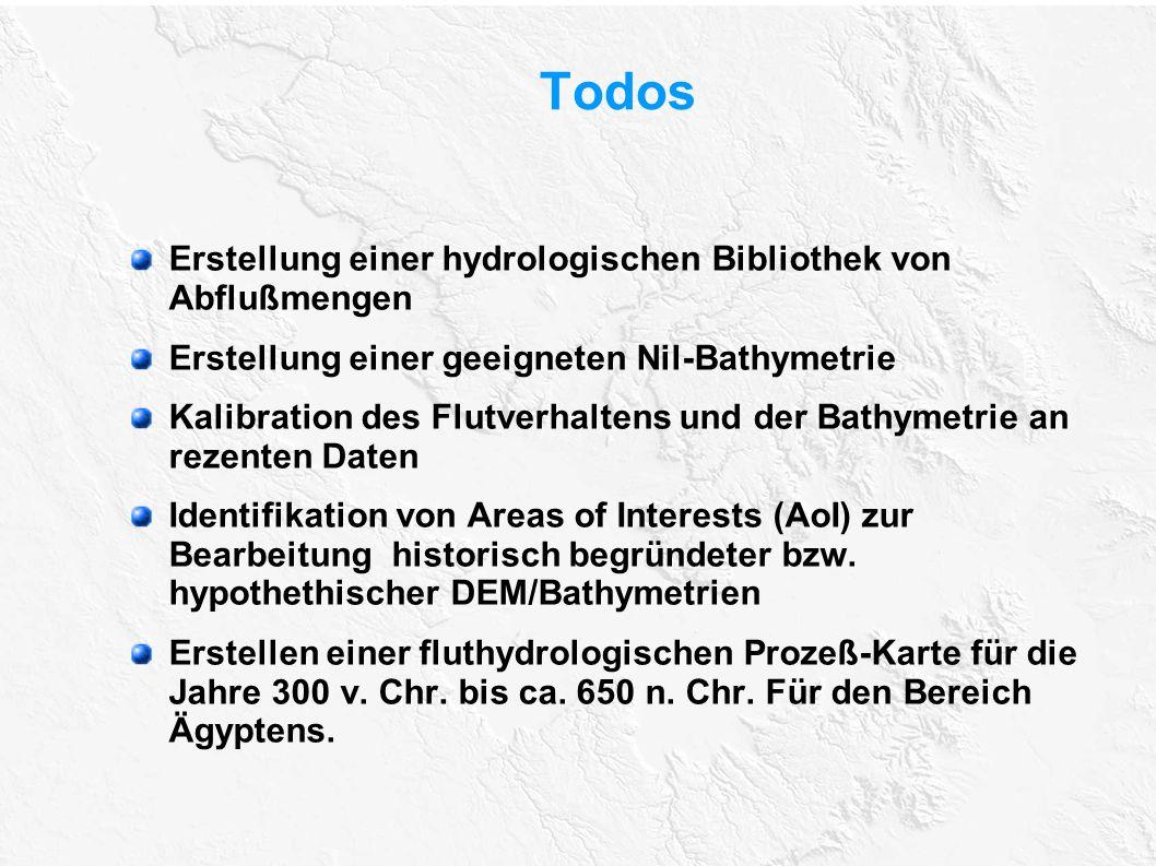 Todos Erstellung einer hydrologischen Bibliothek von Abflußmengen